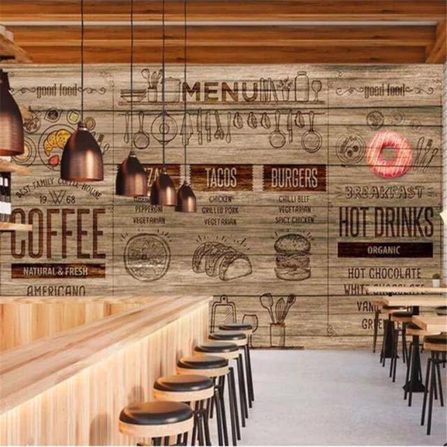 Papel デ parede カスタム壁紙 3D 壁画木材スタイルアフタヌーンティーコーヒーレストランツーリング壁リビングルームのベッドルームの壁紙_画像1