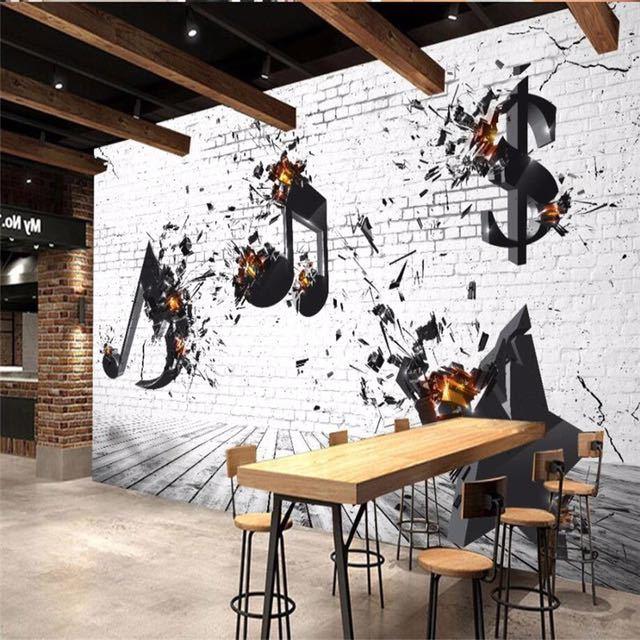 Beibehang カスタム 3d 壁紙音楽バー KTV 文化背景リビングルームベッドルームの背景壁画の装飾_画像1