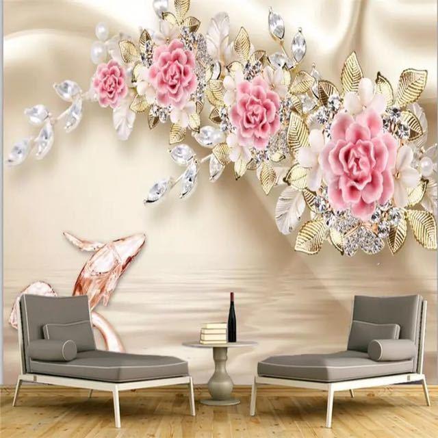 Beibehang カスタム写真の壁紙壁画 3D 救済ジュエリーローズフラワーテレビの壁の背景 papel デ parede 壁紙壁用 3 d_画像3