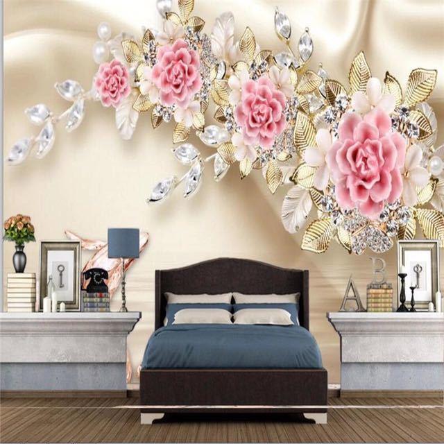 Beibehang カスタム写真の壁紙壁画 3D 救済ジュエリーローズフラワーテレビの壁の背景 papel デ parede 壁紙壁用 3 d_画像4