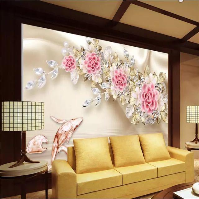 Beibehang カスタム写真の壁紙壁画 3D 救済ジュエリーローズフラワーテレビの壁の背景 papel デ parede 壁紙壁用 3 d_画像2