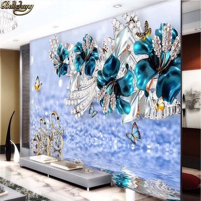 Beibehang カスタム写真の壁紙壁画ステッカー高級白鳥青花透かしジュエリーテレビの壁の背景 papel デ parede_画像3