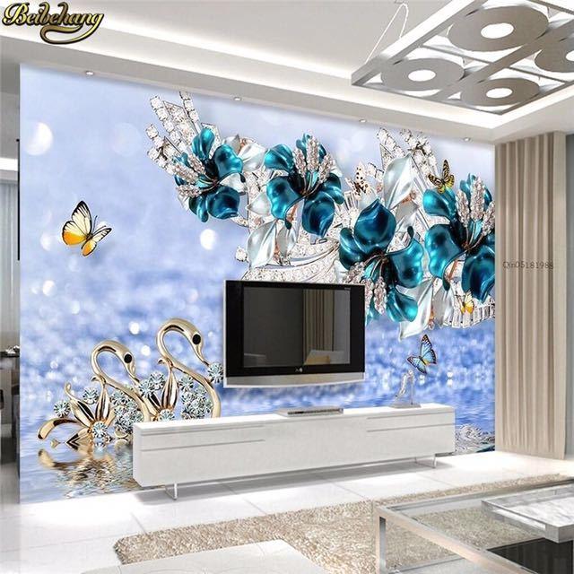 Beibehang カスタム写真の壁紙壁画ステッカー高級白鳥青花透かしジュエリーテレビの壁の背景 papel デ parede_画像1
