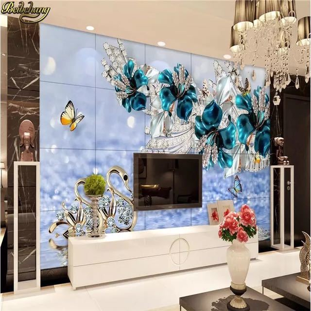 Beibehang カスタム写真の壁紙壁画ステッカー高級白鳥青花透かしジュエリーテレビの壁の背景 papel デ parede_画像2