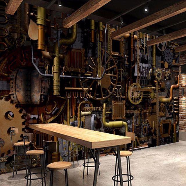 カスタム壁壁画 3D レトロな工業用風のコーヒーショップバーレストラン背景の壁の絵画ベッドルームの壁紙の壁画_画像5