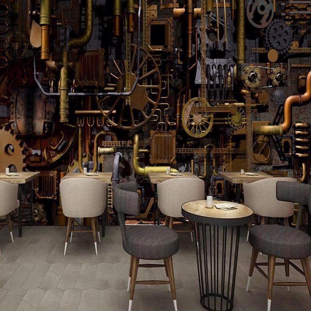 カスタム壁壁画 3D レトロな工業用風のコーヒーショップバーレストラン背景の壁の絵画ベッドルームの壁紙の壁画_画像4
