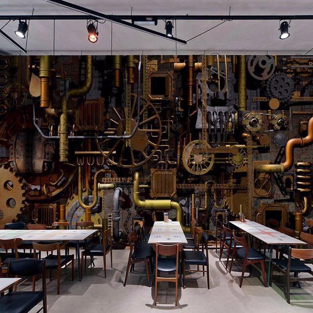 カスタム壁壁画 3D レトロな工業用風のコーヒーショップバーレストラン背景の壁の絵画ベッドルームの壁紙の壁画_画像1