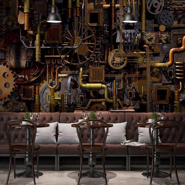 カスタム壁壁画 3D レトロな工業用風のコーヒーショップバーレストラン背景の壁の絵画ベッドルームの壁紙の壁画_画像2