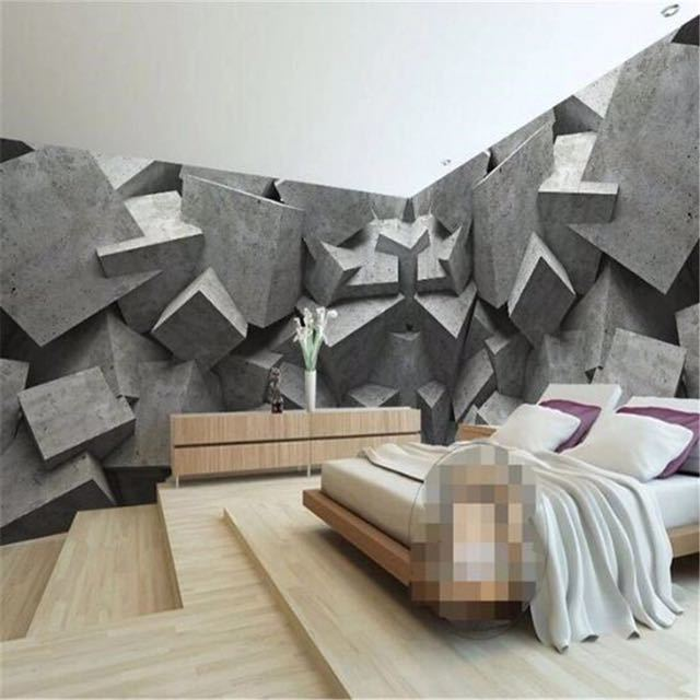 Beibehang 現代 wallpaper3d 背景大絵画コンクリートレンガアートパネル murales デ パレーホテル badroom リビングルーム_画像1