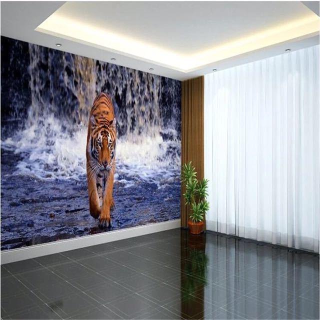 Beibehang 現代写真の壁紙壁画現代のリビングルームのテレビの背景 3d ステレオ滝虎壁壁画_画像1