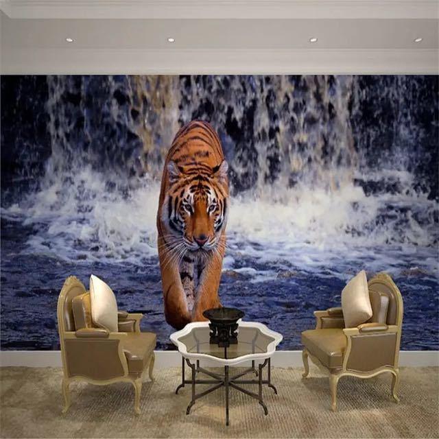 Beibehang 現代写真の壁紙壁画現代のリビングルームのテレビの背景 3d ステレオ滝虎壁壁画_画像3