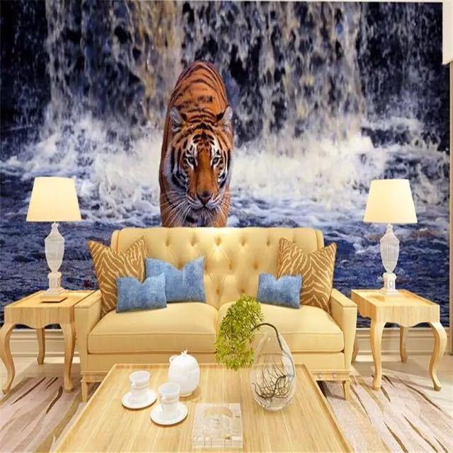 Beibehang 現代写真の壁紙壁画現代のリビングルームのテレビの背景 3d ステレオ滝虎壁壁画_画像2