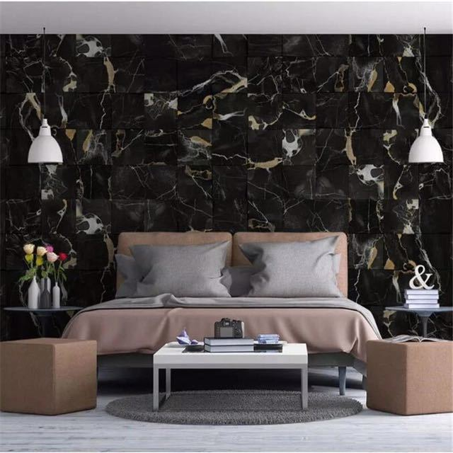 Beibehang papel デ parede 3D カスタム壁紙現代のファッションブラックゴールド砂大理石ゴールド壁画背景壁 behang_画像3