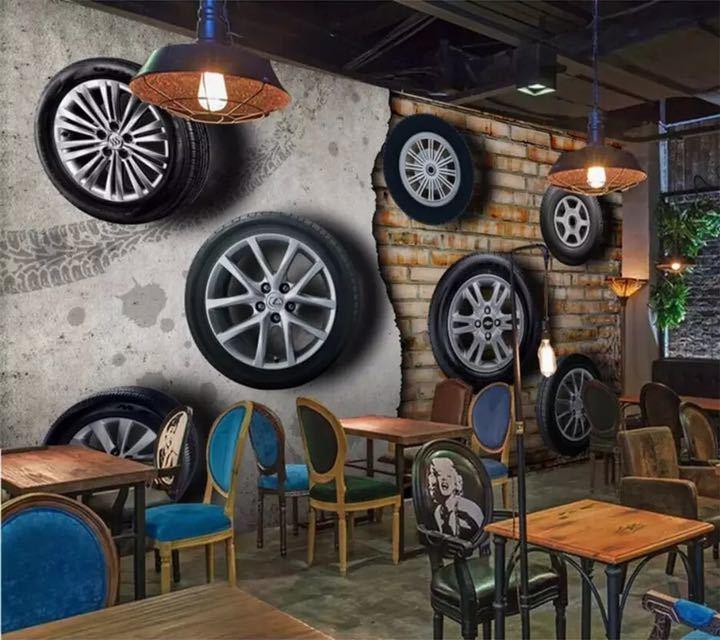 カスタム壁紙 3D 壁画ステレオレトロなノスタルジックな車のタイヤレンガの壁テレビの背景の壁リビングルーム papel デ parede 壁紙_画像2