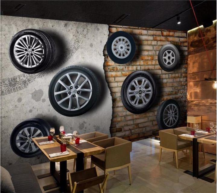 カスタム壁紙 3D 壁画ステレオレトロなノスタルジックな車のタイヤレンガの壁テレビの背景の壁リビングルーム papel デ parede 壁紙_画像4