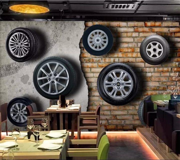 カスタム壁紙 3D 壁画ステレオレトロなノスタルジックな車のタイヤレンガの壁テレビの背景の壁リビングルーム papel デ parede 壁紙_画像1