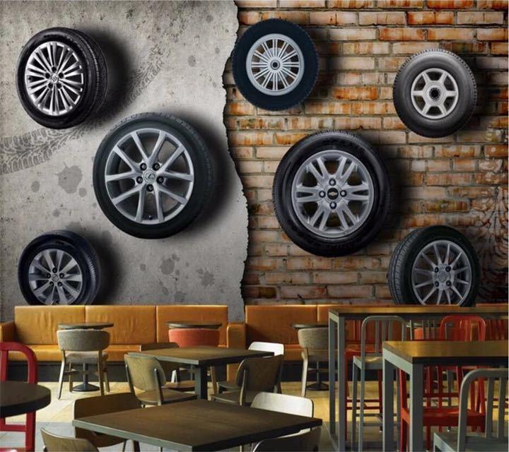 カスタム壁紙 3D 壁画ステレオレトロなノスタルジックな車のタイヤレンガの壁テレビの背景の壁リビングルーム papel デ parede 壁紙_画像3