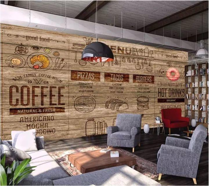 Papel デ parede カスタム壁紙 3D 壁画木材スタイルアフタヌーンティーコーヒーレストランツーリング壁リビングルームのベッドルームの壁紙_画像3