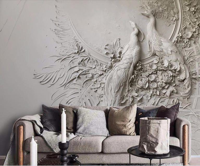 Beibehang カスタム壁紙 3D 3 次元エンボス加工孔雀テレビソファ背景の壁リビングルームの寝室の壁画 3d 壁紙_画像4