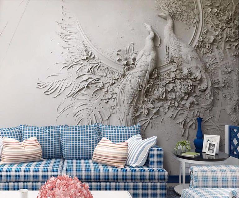 Beibehang カスタム壁紙 3D 3 次元エンボス加工孔雀テレビソファ背景の壁リビングルームの寝室の壁画 3d 壁紙_画像5