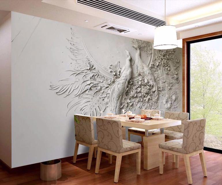 Beibehang カスタム壁紙 3D 3 次元エンボス加工孔雀テレビソファ背景の壁リビングルームの寝室の壁画 3d 壁紙_画像6