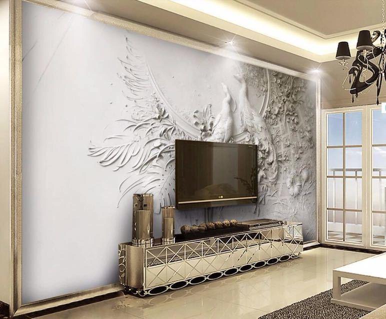Beibehang カスタム壁紙 3D 3 次元エンボス加工孔雀テレビソファ背景の壁リビングルームの寝室の壁画 3d 壁紙_画像3