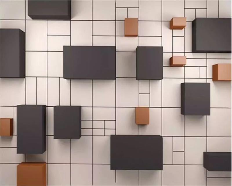 カスタム壁画 3d 壁紙ステレオ現代新中国キューブレンガの壁テレビの背景の壁論文の家の装飾 papel デ parede 壁画_画像3
