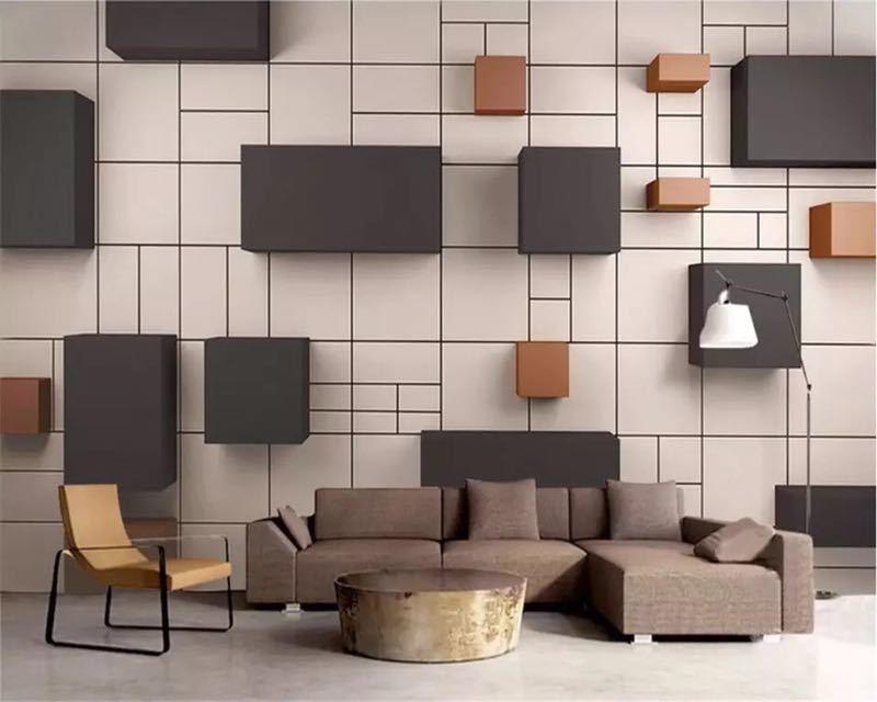 カスタム壁画 3d 壁紙ステレオ現代新中国キューブレンガの壁テレビの背景の壁論文の家の装飾 papel デ parede 壁画_画像2