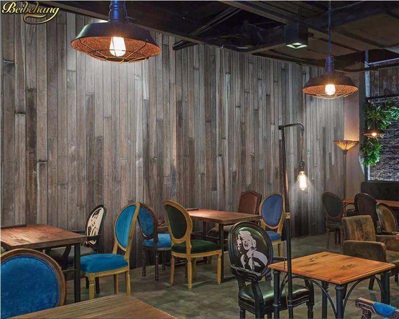Beibehang カスタム写真の壁紙壁画ダークステッチ木目壁紙バーレストランカフェの背景の壁 papel デ parede_画像1
