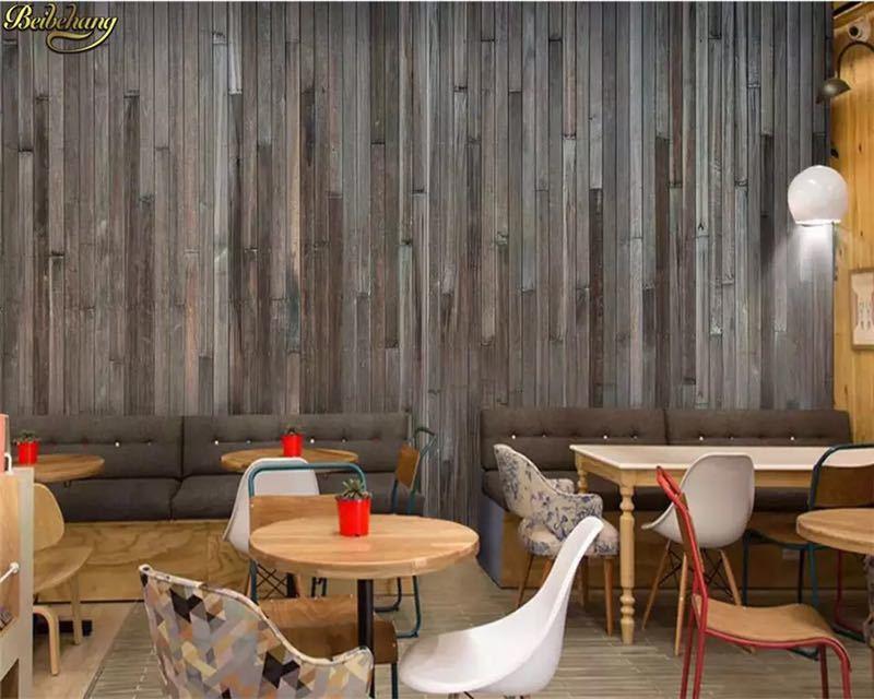 Beibehang カスタム写真の壁紙壁画ダークステッチ木目壁紙バーレストランカフェの背景の壁 papel デ parede_画像2