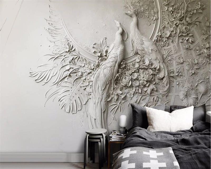 Beibehang カスタム壁紙 3D 3 次元エンボス加工孔雀テレビソファ背景の壁リビングルームの寝室の壁画 3d 壁紙_画像2