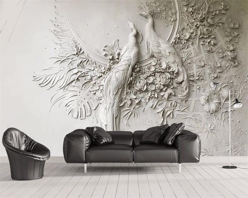 Beibehang カスタム壁紙 3D 3 次元エンボス加工孔雀テレビソファ背景の壁リビングルームの寝室の壁画 3d 壁紙_画像1