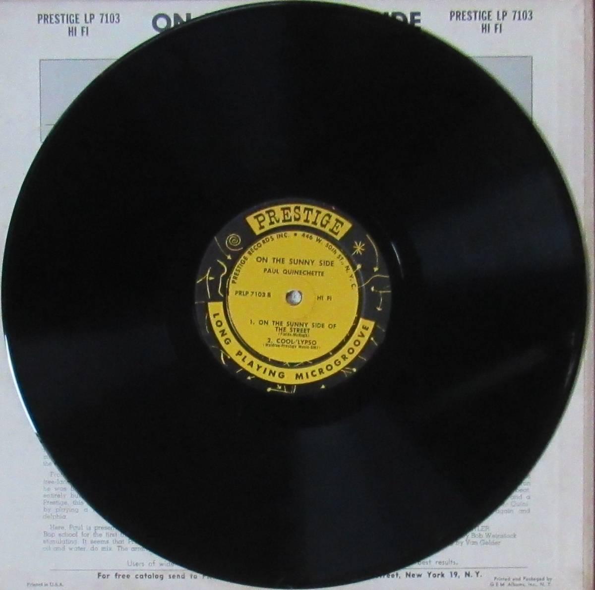 LP◆PAUL QUINICHETTE / On The Sunny Side◆orig. mono DG RVG刻印 N.Y.盤 _画像4