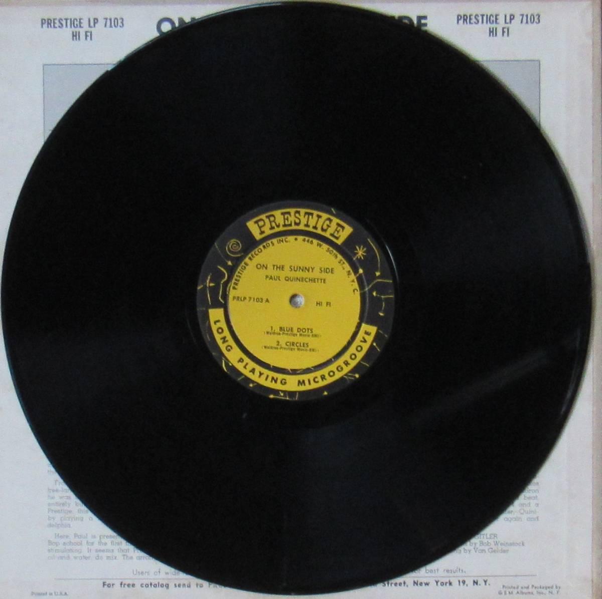 LP◆PAUL QUINICHETTE / On The Sunny Side◆orig. mono DG RVG刻印 N.Y.盤 _画像3