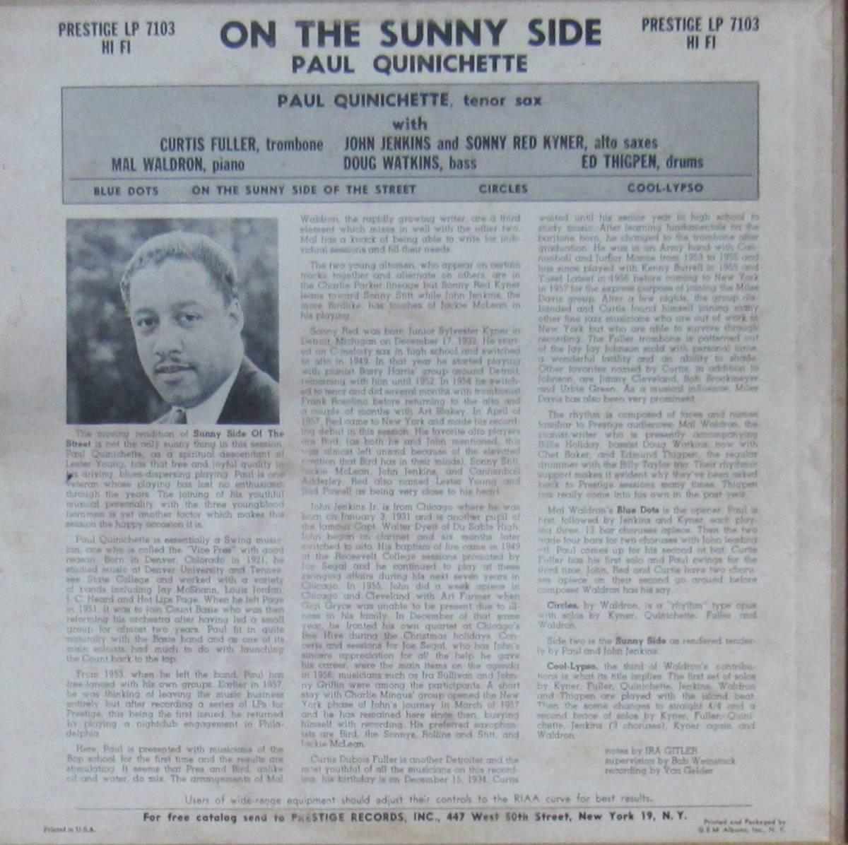 LP◆PAUL QUINICHETTE / On The Sunny Side◆orig. mono DG RVG刻印 N.Y.盤 _画像2