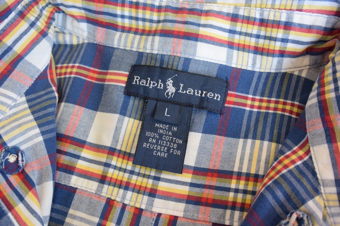 古着 Ralph Lauren Boys Lサイズ 美品 チェック 半袖シャツ ラルフローレン ボタンダウン ヴィンテージ ビンテージ キッズ T0294_画像3