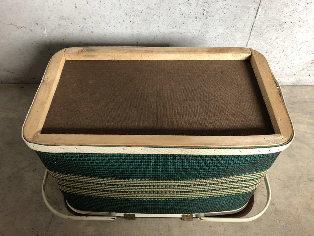 ヴィンテージ Redmon ピクニックバスケット ビンテージバスケット キャンプ 籠 柄物 ボーダー レッドマン グリーン BBQ CAMP Coleman_画像9