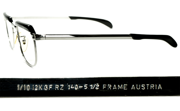 OPTYL創業以前レジェンドコンビ初期作品 1960s AUSTRIA製 VIENNALINE 1/10 12KGF金張WHITE GOLDxBLACKブロータイプ 眼鏡 size48/20 A6657_画像3