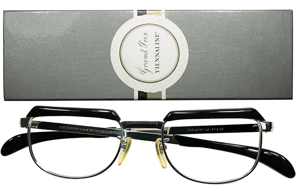 OPTYL創業以前レジェンドコンビ初期作品 1960s AUSTRIA製 VIENNALINE 1/10 12KGF金張WHITE GOLDxBLACKブロータイプ 眼鏡 size48/20 A6657_画像1