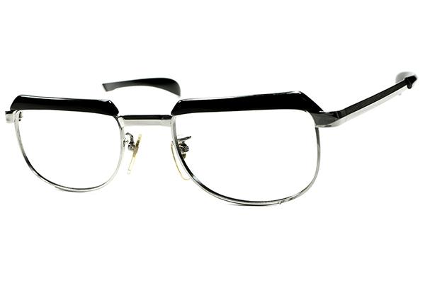 OPTYL創業以前レジェンドコンビ初期作品 1960s AUSTRIA製 VIENNALINE 1/10 12KGF金張WHITE GOLDxBLACKブロータイプ 眼鏡 size48/20 A6657_画像2