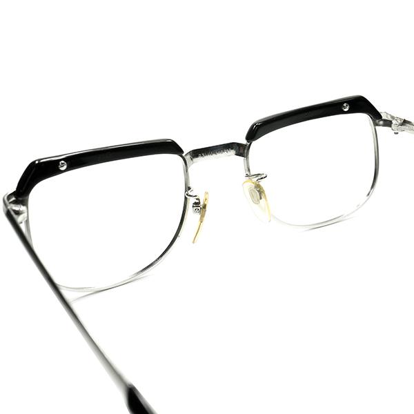 OPTYL創業以前レジェンドコンビ初期作品 1960s AUSTRIA製 VIENNALINE 1/10 12KGF金張WHITE GOLDxBLACKブロータイプ 眼鏡 size48/20 A6657_画像4