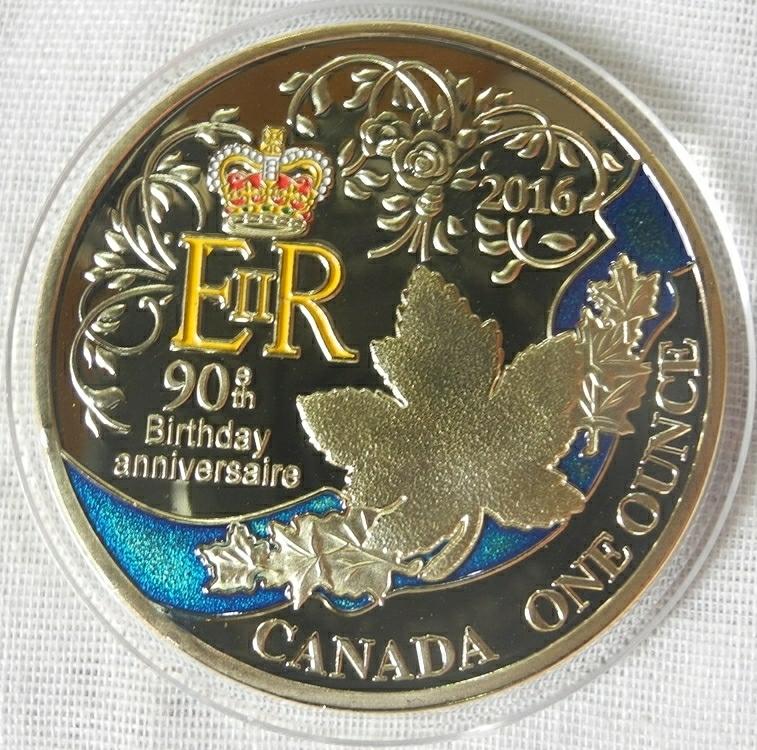カナダ コレクションコイン エリザベス女王誕生90周年 記念金メダル カラー 1oz 1オンス 24金メッキ メイプルリーフ(検 金貨 プレゼント_画像1