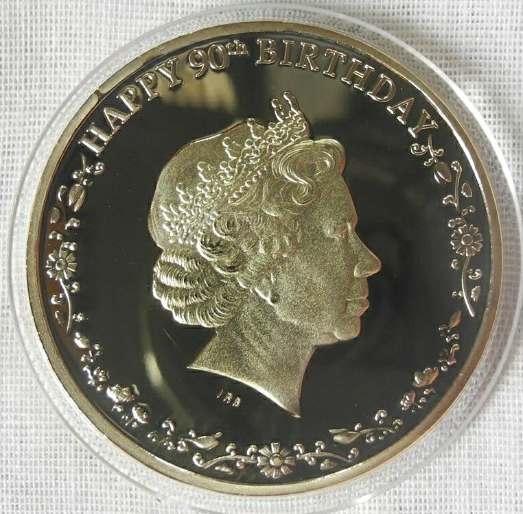 カナダ コレクションコイン エリザベス女王誕生90周年 記念金メダル カラー 1oz 1オンス 24金メッキ メイプルリーフ(検 金貨 プレゼント_画像2