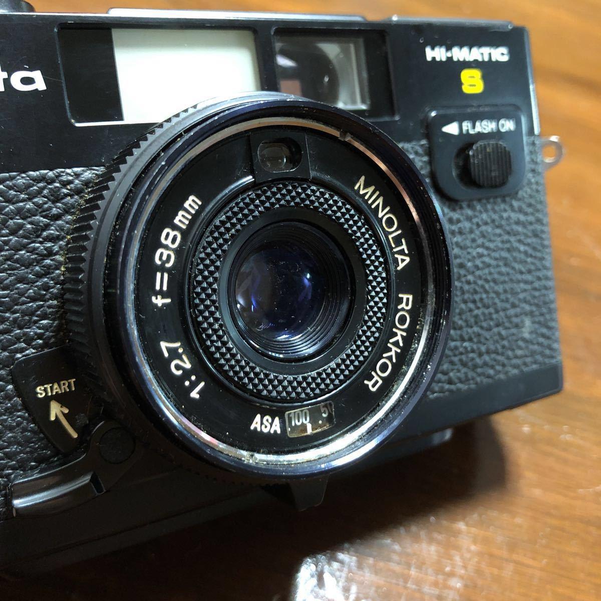レトロ Minolta ミノルタ HI-MATIC F ブラック 黒 ROKKOR 1:2.7 f=38mm フィルムカメラ 現状品_画像3