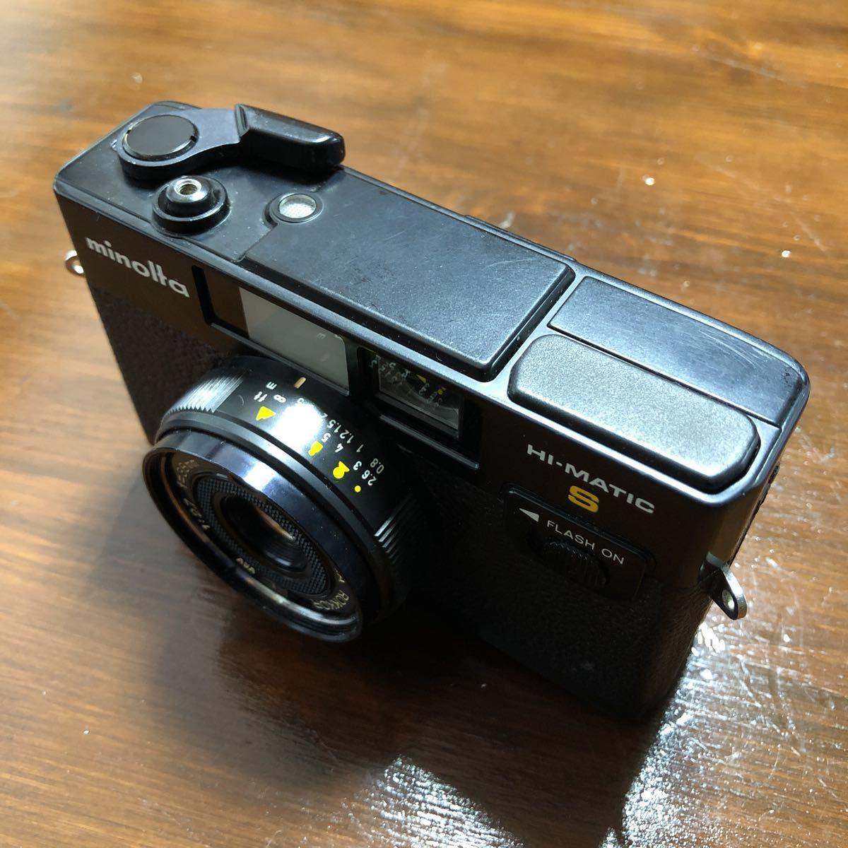 レトロ Minolta ミノルタ HI-MATIC F ブラック 黒 ROKKOR 1:2.7 f=38mm フィルムカメラ 現状品_画像4