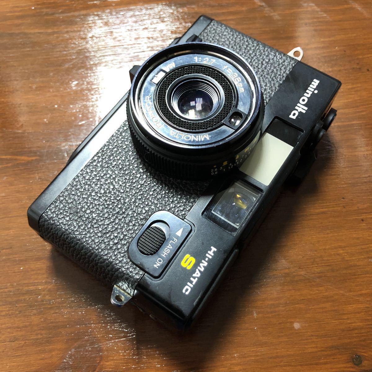 レトロ Minolta ミノルタ HI-MATIC F ブラック 黒 ROKKOR 1:2.7 f=38mm フィルムカメラ 現状品_画像10