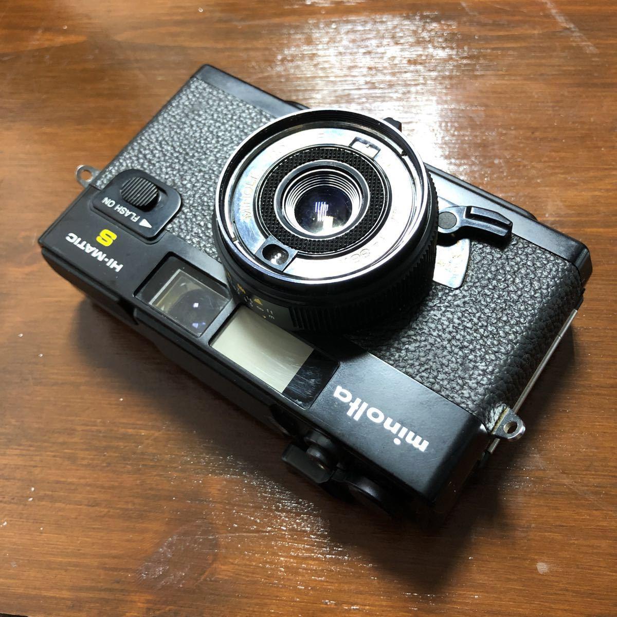 レトロ Minolta ミノルタ HI-MATIC F ブラック 黒 ROKKOR 1:2.7 f=38mm フィルムカメラ 現状品_画像9