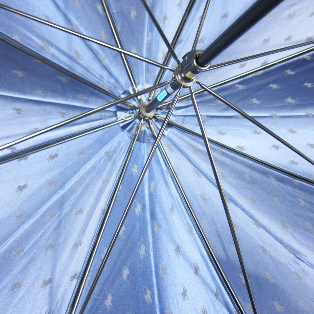 M5149●POLO RALPH LAUREN ポロ ラルフローレン 紳士傘 ポニーマーク ネイビー グラスファイバー骨 65cm USED 中古品_画像4