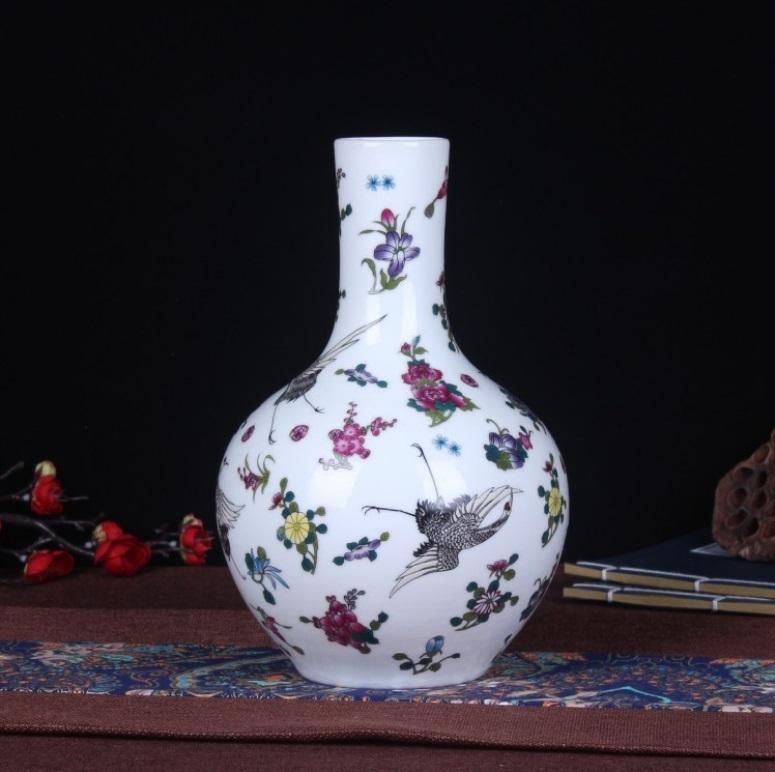 花瓶 中国陶磁器 景徳鎮 陶器/花器 飾り瓶 陶器 賞瓶 文斎賞物 置物 唐物 花壺 花入 陶芸 071208_画像1