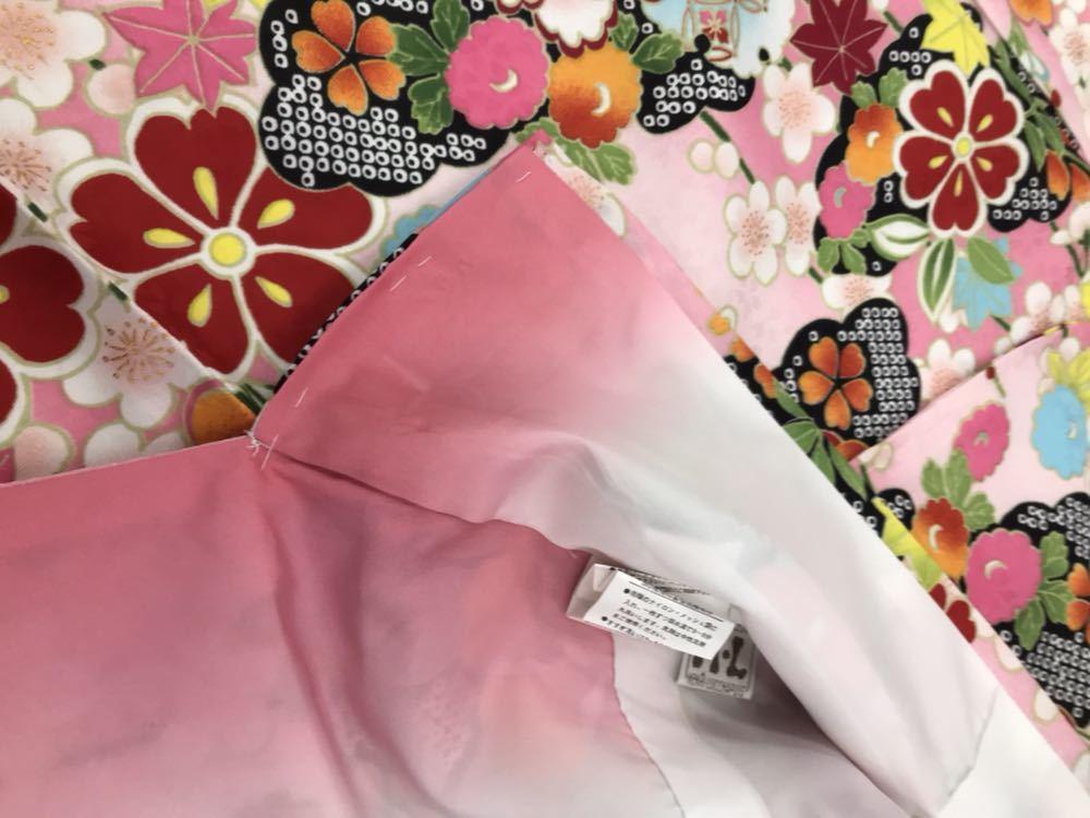 未使用 仕立て済み しつけ付き HL 振袖 ピンク地 和風柄 帯プレゼント 衣装 素材 練習用にどうぞ 成人式 大量出品中_画像6